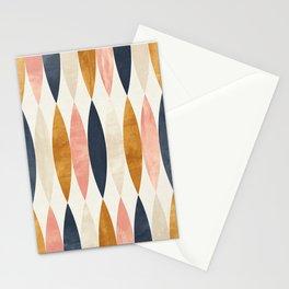 Gold Pink Navy Blue Oval Geometric Pattern Glam Style Stationery Cards