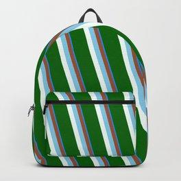 Eyecatching Blue, Sienna, Sky Blue, Mint Cream & Dark Green Colored Stripes/Lines Pattern Backpack