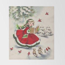 Vintage Christmas Girl Decke