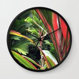 Hawaiian Wild Garden in the Jungle Rainforest Wall Clock