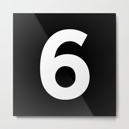 Number 6 (White & Black) Metal Print