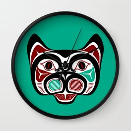 Northwest Pacific coast Haida Kitty Wall Clock