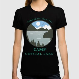 Camp Crystal Lake Retro 80s Slasher Horror Halloween Design T-shirt