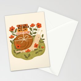 Snail Carrying Books Stationery Cards