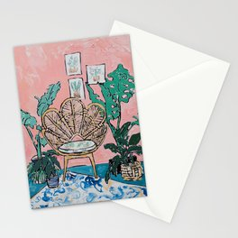 Wicker Shell Chair in Tropical Interior Stationery Cards
