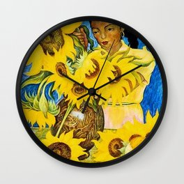 Girl with Sunflowers portrait painting by Diego Rivera Wall Clock