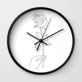 Rose flower hand minimalist illustration / Rose flower  black-and-white lineart / Rose lovers Wall Clock