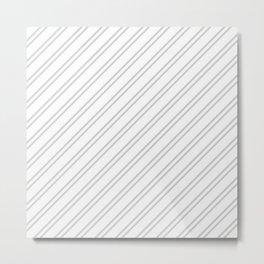 Gray Diagonal Lines Metal Print