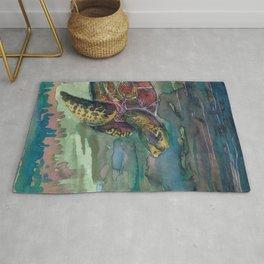 sea turtle watercolor Rug
