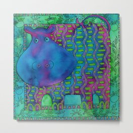Patterned Hippo Metal Print