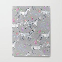 Unicorns and Stars on Soft Grey Metal Print