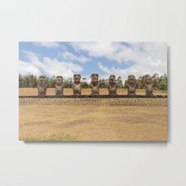 Ahu Akivi Easter Island | Chile South America travel photography | Bright colored photo print |  Metal Print