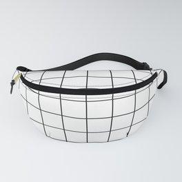 Grid Pattern Stripes Lines Black and White Minimalist Geometric Stripe Line Fanny Pack