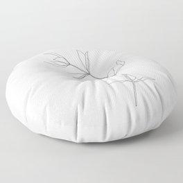 Plant illustration line drawing - Primrose Floor Pillow