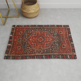 Persian Joshan Old Century Authentic Colorful Red Rusty Blue Vintage Rug Pattern Rug