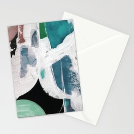 Teal Blue White On Black Abstract Stationery Cards