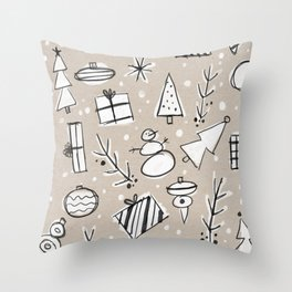Christmas White and Kraft Sketches Throw Pillow