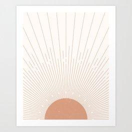 Sunburst Minimal Sun, Terracotta, Mid Century Abstract Art, Boho  Decor Art Print