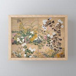 Ogata Korin Flowering Plants in Autumn Framed Mini Art Print