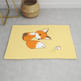 Cute Little Fox Watching Butterly Rug