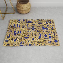 Egyptian hieroglyphic Lapis Lazuli and Gold Rug