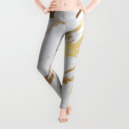 Glam Gold and Rose Gold White Marble Leggings