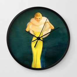 """Pinup by Rolf Armstrong """"The Fur Stole"""" Wall Clock"""