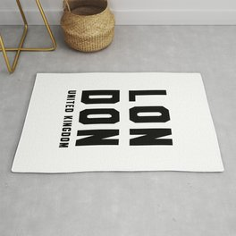 London United kingdom black white quote Rug