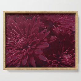 Burgundy Chrysanthemums Serving Tray