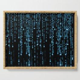 Matrix Binary Blue Code Serving Tray