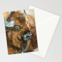 Bison Oil Painting Stationery Cards
