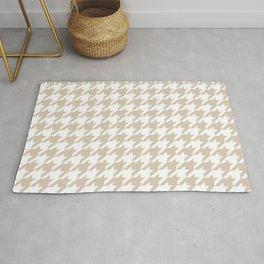 Houndstooth: Beige & White Checkered Design Rug