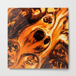 Abstract Gold Fire Paint IV Metal Print