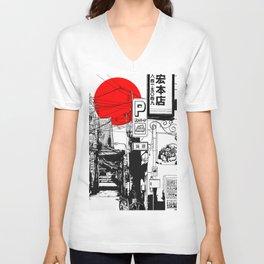 Tokyo street sunrise Unisex V-Ausschnitt