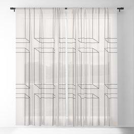 3D Geometric Minimalist Pattern II Sheer Curtain
