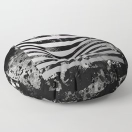 Industrial Action - Metallic, black and white, abstract, geometric, textured painting Floor Pillow