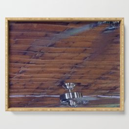 Wood Ceiling, Chrome Fans Serving Tray
