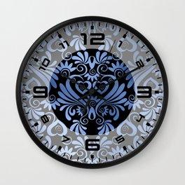Classic Blue Swirls Damask 7 Wall Clock