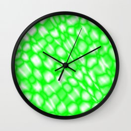 Splashes of paint in a green diagonal with cracks on the plastic film. Wall Clock