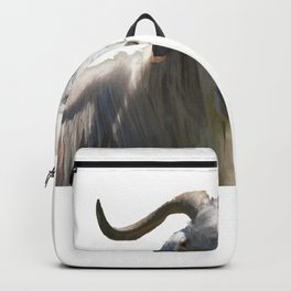 Portrait of a Horned Goat Grazing Vector Backpack