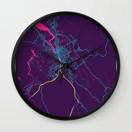 Launceston Neon City Map, Launceston Minimalist City Map Art Print Wall Clock