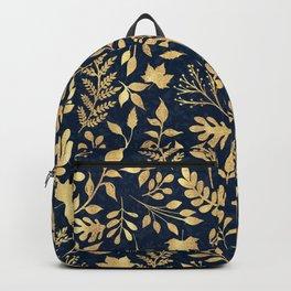 Elegant Gold Glitter Foliage Navy-Blue Design Backpack