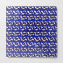 oriental tendril pattern, royal blue Metal Print