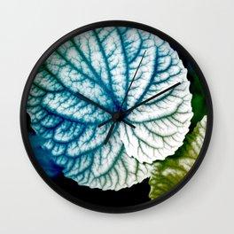 Blue Leaf Abstract Art Wall Clock