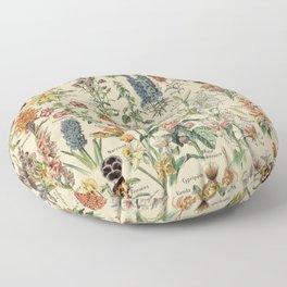 French Vintage Flowers Chart Adolphe Millot Fleurs Larousse Pour Tous Poster  Floor Pillow