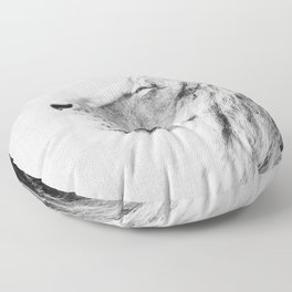 Lion Portrait - Black & White Floor Pillow