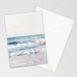 Pale Ocean Photography, Blue Seascape Photograph, Ocean Waves Photo Print Stationery Cards