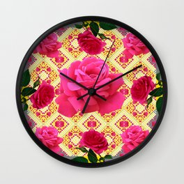 PINK GARDEN ROSES PATTERN  GREY ABSTRACT Wall Clock