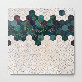 Teal and Cream Organic Hexagons Metal Print