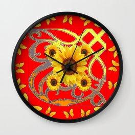 SUNFLOWER RED MODERN ART YELLOW BUTTERFLIES ABSTRACT Wall Clock